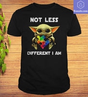 Baby Yoda Hug Autism Awareness Not Less Different I Am T-Shirt - Teetaho