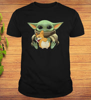 Baby Yoda Hug Corgi T-shirt For Men Women - Teetaho