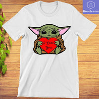 Baby Yoda Hug Heart Write I Love You T-Shirt Gift For Valentine Day - Teetaho
