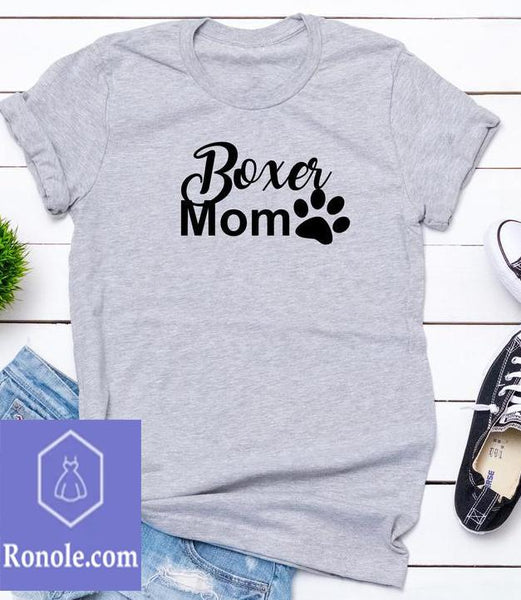 Boxer Mom Paw Sport Grey T-Shirt - Teetaho