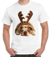 Bulldog Rudolph Reindeer Cute Christmas T-Shirt - Teetaho