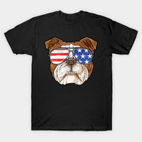 English Bulldog American Sunglasses T-Shirt - Teetaho