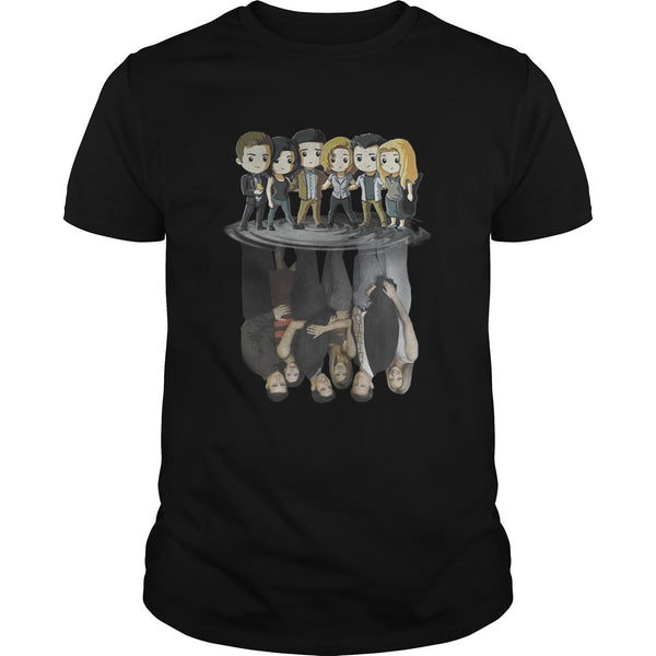 Friends Tv Characters Chibi Water Reflection T Shirt