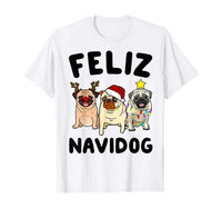 Funny Feliz Navidog Pug Dog Lover Gift Christmas T-shirt - Teetaho
