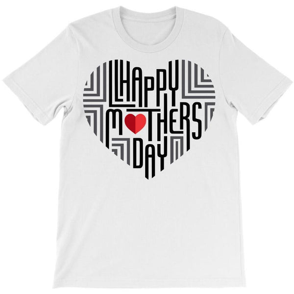 Happy Mother's Day Text In Heart T-Shirt - Teetaho