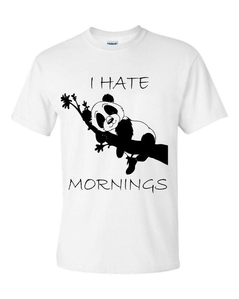 I Hate Mornings Panda Lazy Days Pugs Bed Time T Shirt