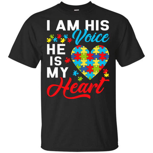 I Am His Voice He Is My Heart Autism Awareness T-Shirt - Teetaho