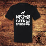 I Just Want To Drink Beer And Hang With My Boxer T-Shirt, Top Gifts for Dog Lovers, Animal Shirts, Pet Shirts - Teetaho