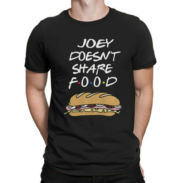 Joey Doesn't Share Food Friends TV Show Funny Hot Dog Pattern T Shirt