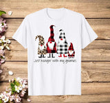 Just Hangin With My Gnomies Buffalo Plaid Funny Christmas T-Shirt - Teetaho