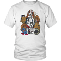 Justice League Basset Hound You Cant save the World Alone T-shirt