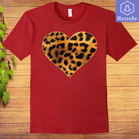 Leopard Print Shirt Leopard Animal Print Heart Love T-Shirt - Teetaho