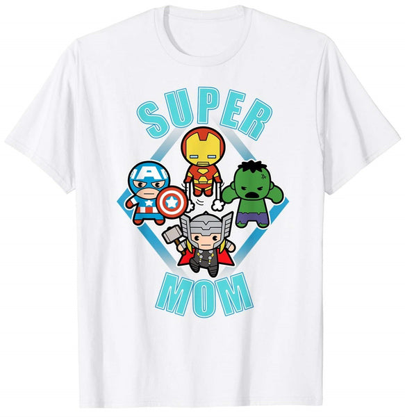 Mother's Day Kawaii Team Super Mom Graphic T-Shirts - Teetaho