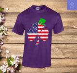 St Patricks Day Shirt | Irish American Flag Shamrock T-Shirt - Teetaho