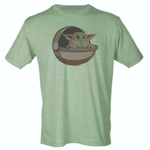 T-Shirt Baby Yoda The Mandalorian Sublimation 65/35 Blend Heather Green All Size - Teetaho