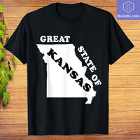 The Great State of Kansas Funny Missouri Black White T-Shirt - Teetaho