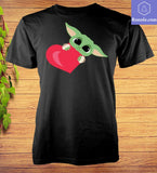 Valentine Love heart Little Yoda Baby Cute The Child T-Shirt - Teetaho