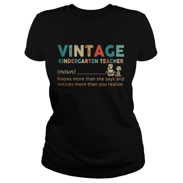 Vintage Kindergarten Teacher Noun T shirt