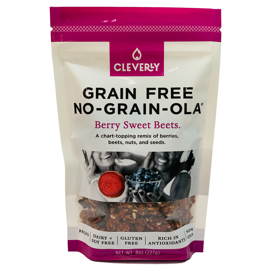 Cleverly Grain Free  Berry Sweet Beets No-Grain-Ola.  A chart-topping remix of berries, beets nuts and seeds.  Paleo, Dairy Free, Soy Free, Gluten Free, Rich in Antioxidants, Non GMO.