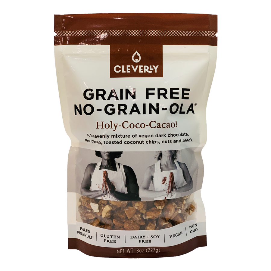 Cleverly Grain Free Holy-Coco-Cacao! No-Grain-Ola 8oz Sharing Bag A heavenly mixture of vegan dark chocolate, raw cacao, toatsted coconut chips, nuts and seeds.  Paleo Friendly, Gluten Free, Dairy Free, Soy Free, Vegan, Non GMO.