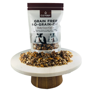 Cleverly Grain Free Holy-Coco-Cacao! No-Grain-Ola 8oz Sharing Bag A heavenly mixture of vegan dark chocolate, raw cacao, toatsted coconut chips, nuts and seeds.
