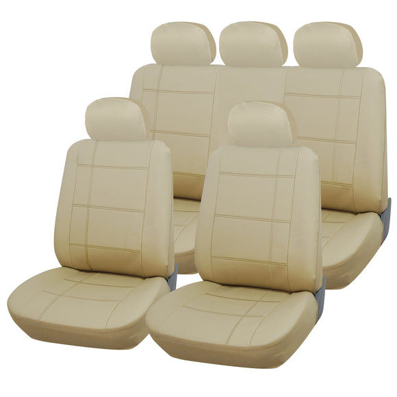 Beige Leather Look 9pc Full Car Seat Cover Set