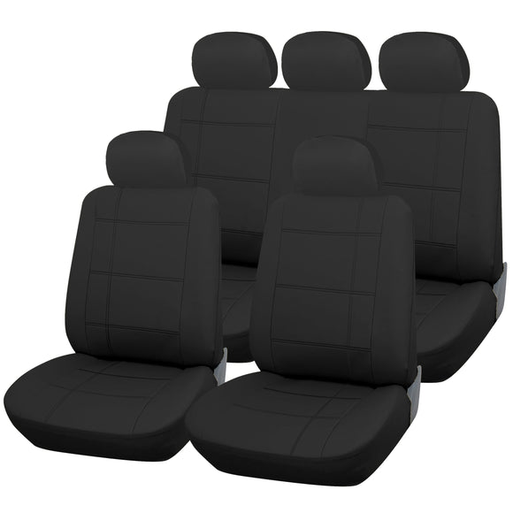Black Leather Look 9pc Full Car Seat Cover Set