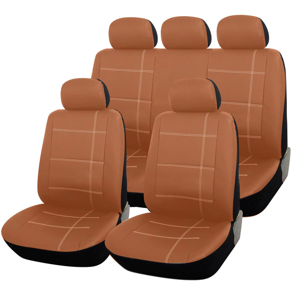Tan Leather Look 9pc Full Car Seat Cover Set