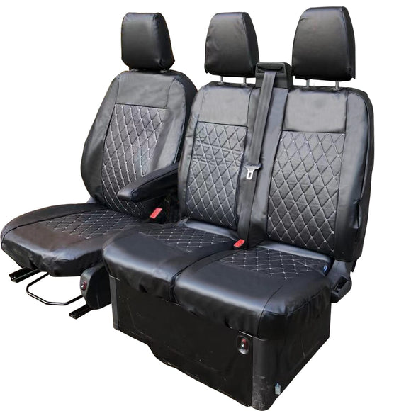 Tailored Ford Transit (Up To 2013) Diamond Quilted Leather Style Seat Covers