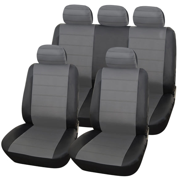 Urban Style 9pc Leather Look Car Seat Cover Set