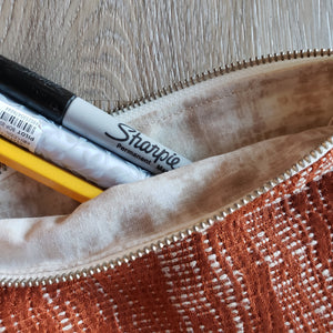 Upcycled Rust Fabric Pencil Pouch