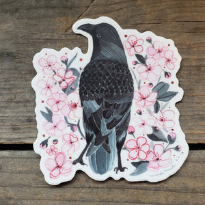 Crow and Cherry Blossoms Vinyl Sticker