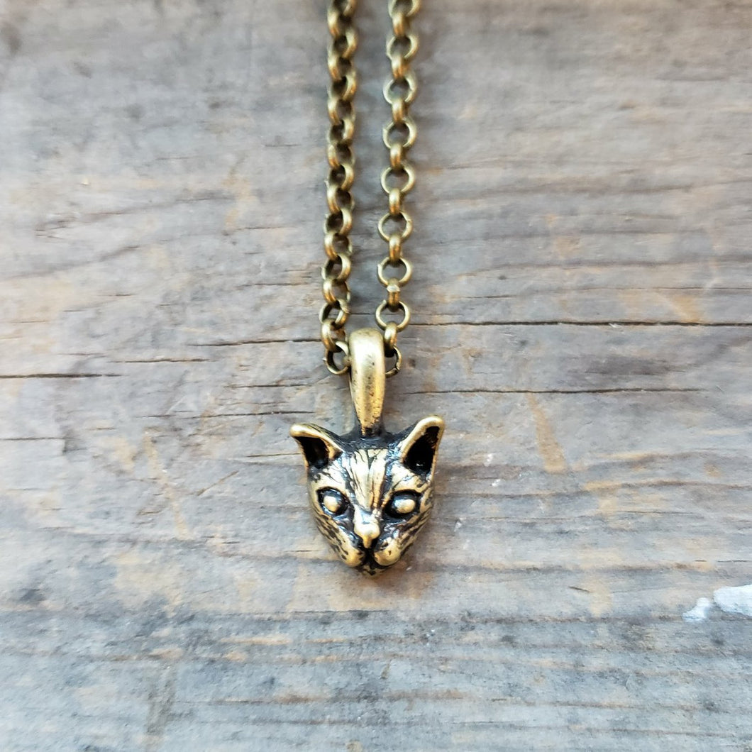 Brass-Toned Cat Head Necklace