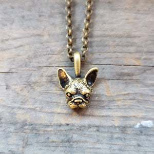 Brass-Toned French Bulldog Head Necklace