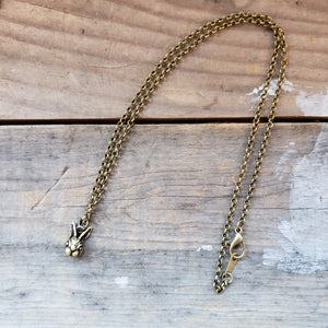 Brass-Toned Rabbit Head Necklace