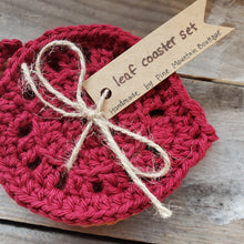 Load image into Gallery viewer, Handmade Crochet Leaf Coaster Set