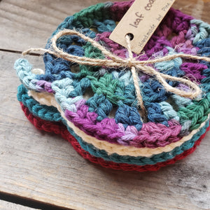 Handmade Crochet Leaf Coaster Set