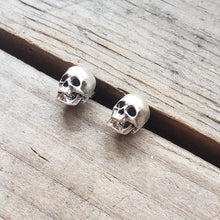 Load image into Gallery viewer, Sterling Silver Skull Stud Earrings