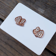 Load image into Gallery viewer, Rose Plated Butterfly Studs