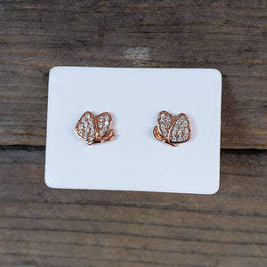 Rose Plated Butterfly Studs