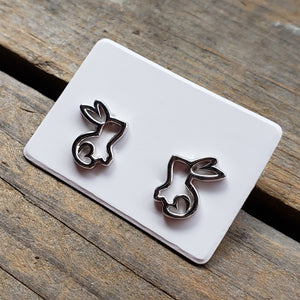 Sterling Silver Bunny Outline Studs