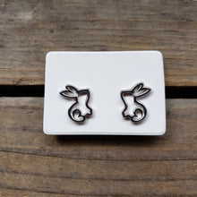 Load image into Gallery viewer, Sterling Silver Bunny Outline Studs