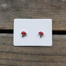 Load image into Gallery viewer, Tiny Sterling Silver Amanita Studs
