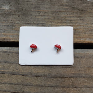 Tiny Sterling Silver Amanita Studs
