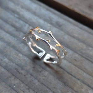 Adjustable Budding Branch Ring
