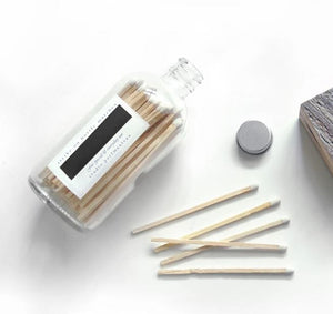 "Glass Jar of 4"" White Matches"