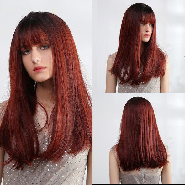 Long Straight Wine Red Wig With Bangs
