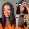 20CM Straight Bob Lace Front Human Hair Wigs