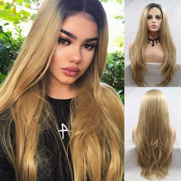 2021 Gold Blonde Straight Mini Lace Front Wigs