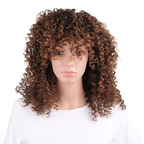 Synthetic Curly Mixed Brown Wig for Women